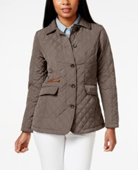 Jones New York Petite Packable Button Down Quilted Coat Beige