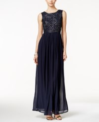 Adrianna Papell Sleeveless Beaded Gown Midnight Blue