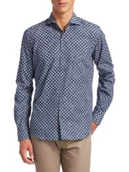 Saks Fifth Avenue Collection Clouded Circles Cotton Button Down Shirt Navy
