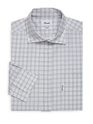 Faconnable Plaid Cotton Casual Button Down Shirt Yellow