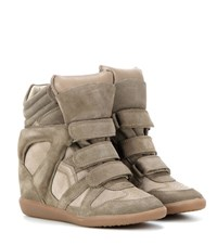Isabel Marant Etoile Bekett Leather And Suede Sneakers Beige