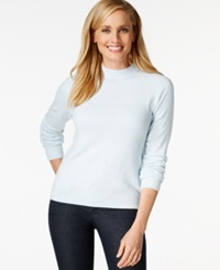 Karen Scott Mock Turtleneck Long Sleeve Sweater Only At Macy's Angel Blue
