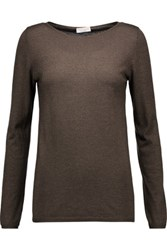 Brunello Cucinelli Metallic Cashmere Blend Top Dark Brown