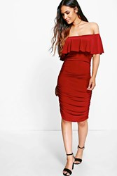 Boohoo Slinky Off Shoulder Ruched Bodycon Dress Wine