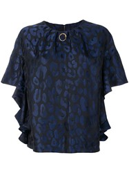 Class Roberto Cavalli Gathered Leopard Blouse Polyester Acetate Viscose Blue