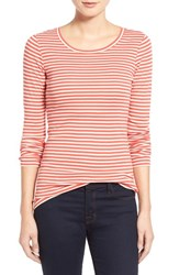 Women's Caslon Long Sleeve Scoop Neck Cotton Tee Red Apple Stripe