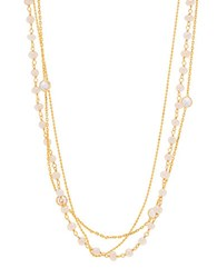 Lord And Taylor Mother Of Pearl Sterling Silver Multi Strand Necklace Gold