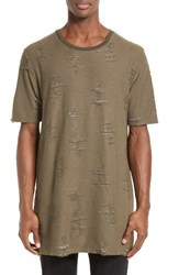 Drifter Men's 'Gebel' Distressed T Shirt Olive