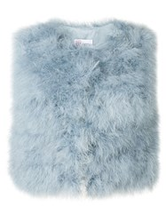 Red Valentino Marabou Cropped Gilet Blue