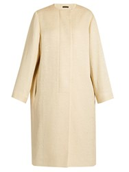 The Row Nettle Collarless Silk Cloque Coat Mid Beige
