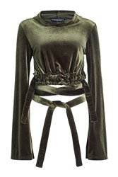 Y Project Hooded Velvet Cropped Top Green
