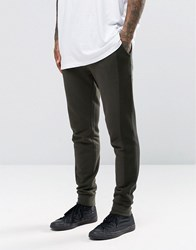 Asos Skinny Joggers With Mesh Panels In Khaki Khaki Green