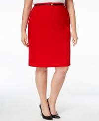Calvin Klein Plus Size Belted Straight Skirt Red