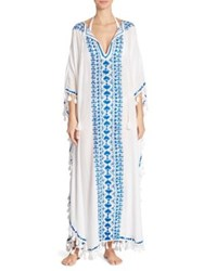 Melissa Odabash Annie Embroidered Long Caftan White Electric Blue
