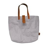 3 Wind Knots Paper Look Tote Bag With Clasp Gray Light Brown Clasp