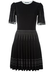 Alexander Mcqueen Pleated Knit Dress Black