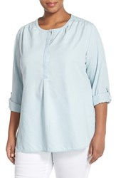 Plus Size Women's Sejour Roll Sleeve Chambray Tunic