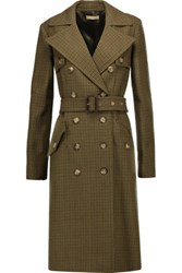 Michael Kors Collection Houndstooth Wool Trench Coat Tan