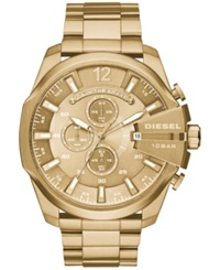 Diesel Men's Chronograph Mega Chief Gold Tone Stainless Steel Bracelet Watch 59X51mm Dz4360