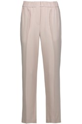 Brunello Cucinelli Pleated Crepe Tapered Pants Light Gray