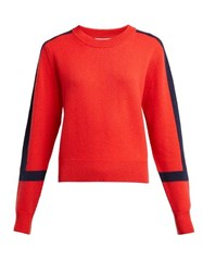 Allude Contrast Stripe Cashmere Sweater Red Navy