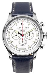 Men's Jack Mason Brand Nautical Chronograph Leather Strap Watch 42Mm White Navy