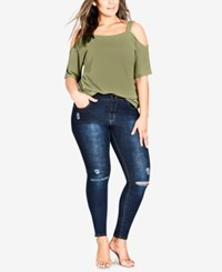City Chic Trendy Plus Size Ripped Jeggings Dark Denim