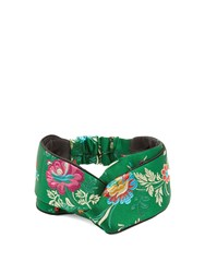 Gucci Floral Embroidered Satin Headband Green