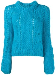 Ganni Long Sleeve Jumper Blue