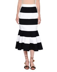 Dolce And Gabbana Striped Stretch Woven Flare Skirt Navy White Blue White