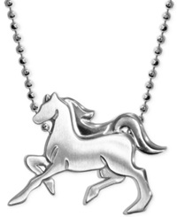 Alex Woo Little Horse Zodiac Pendant Necklace In Sterling Silver