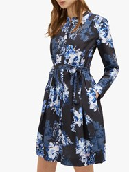 French Connection Caterina Crepe Shirt Dress Utility Blue Multi