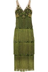 Marchesa Notte Embellished Fringed Tulle Gown Green