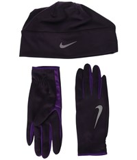 Nike Run Dry Hat And Gloves Set Port Wine Night Purple Silver Athletic Sports Equipment Black