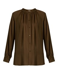 Vince Oversized Gathered Silk Blouse Khaki