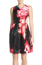 Women's Donna Ricco Floral Shantung Fit And Flare Dress
