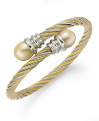 Macy's Stainless Steel And Dyed Gold Stainless Steel Bracelet Cultured Freshwater Pearl Wrap Bracelet 10Mm