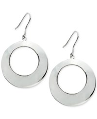 Macy's Polished Open Circle Drop Earrings Silver