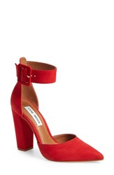 63c5e536e72 Steve Madden Women s Posted Ankle Strap Pump Red Nubuck Leather