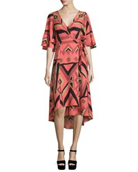 Tracy Reese Short Sleeve Kimono Printed Wrap Dress Cinnamon Geo