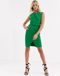Paper Dolls Belted Midi Dress In Green
