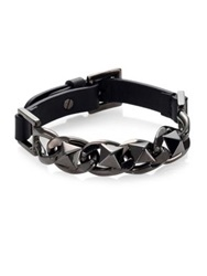 Valentino Studded Leather Bracelet Dark Blue