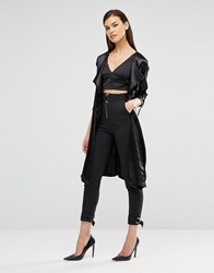 Lavish Alice Satin D Ring Detail Collarless Trench Coat Black