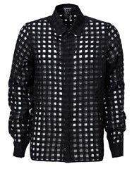 Ann Demeulemeester Sheer Grid Shirt Black