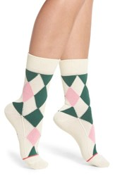 Paul Smith Finella Argyle Crew Socks Ivory