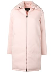 Giambattista Valli Fur Trimmed Zip Up Coat Pink