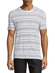 Sandro Striped Linen Tee White Blue