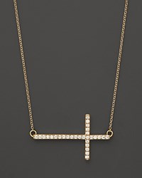 Bloomingdale's Diamond Sideways Cross In 14K Yellow Gold .25 Ct. T.W. Yellow Gold White Diamonds
