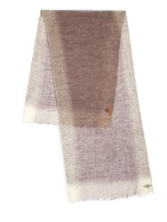 Hickey Freeman Linen Border Striped Scarf Tan