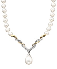 Macy's 14K Gold And Sterling Silver Cultured Freshwater Pearl And Diamond 1 10 Ct. T.W. Necklace